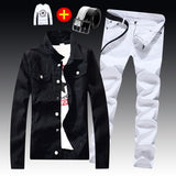 Spring Autumn Mens Slim Fit Denim Jacket Pants Long Sleeve Coat Casual 2pcs Set Buttons Front S2-Felligo