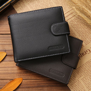 Fashion Genuine Leather Short Men Wallets