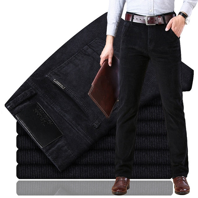 new Corduroy men's casual pants 2019 classic middle-aged business straight stretch casual streetwear brand wine red casual pants-Felligo