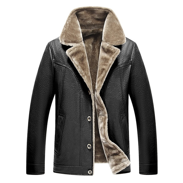 Winter Fur Leather Jacket Mens Plus Size 5XL Suede Leather Jackets Men Faux Fur Thick Warm Long Suede Jacket-Felligo