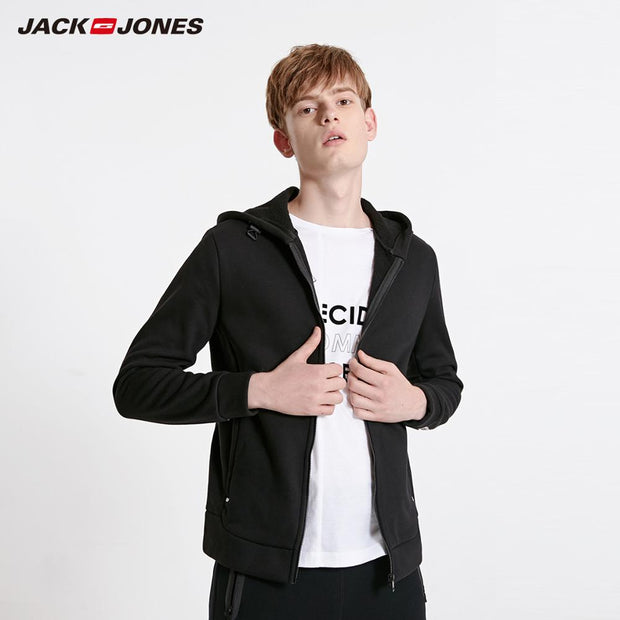 JackJones Men's Cardigan Fleeced Hooded Sweatshirt Jacket Men's Hoodies 2019 Brand New Fashion Menswear 218333524-Felligo