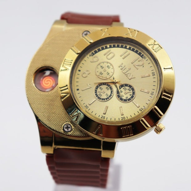 2019 Military Lighter Watches men outdoor sports Quartz Watch USB Charging Wristwatches-Felligo