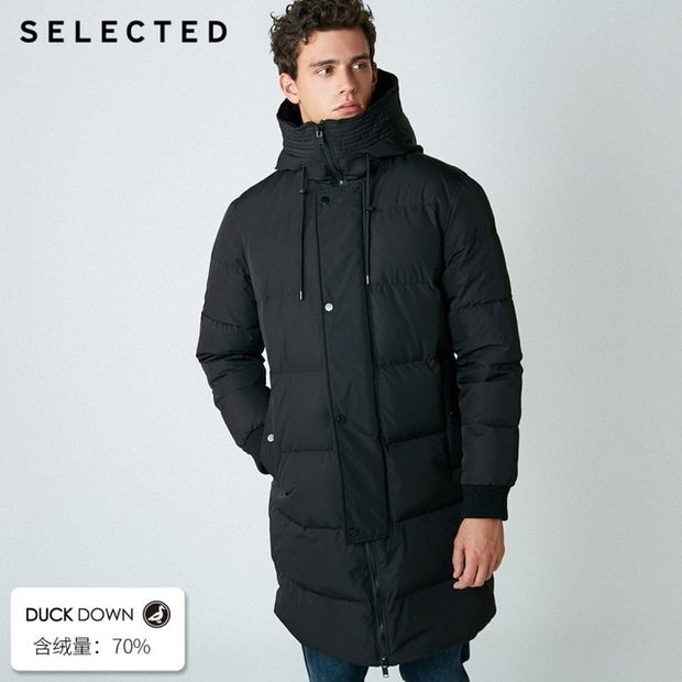 SELECTED 2019 New Winter Down Jacket Men's Zipper and Hat Casual Clothes Medium-and-Long Coat S | 418412503-Felligo