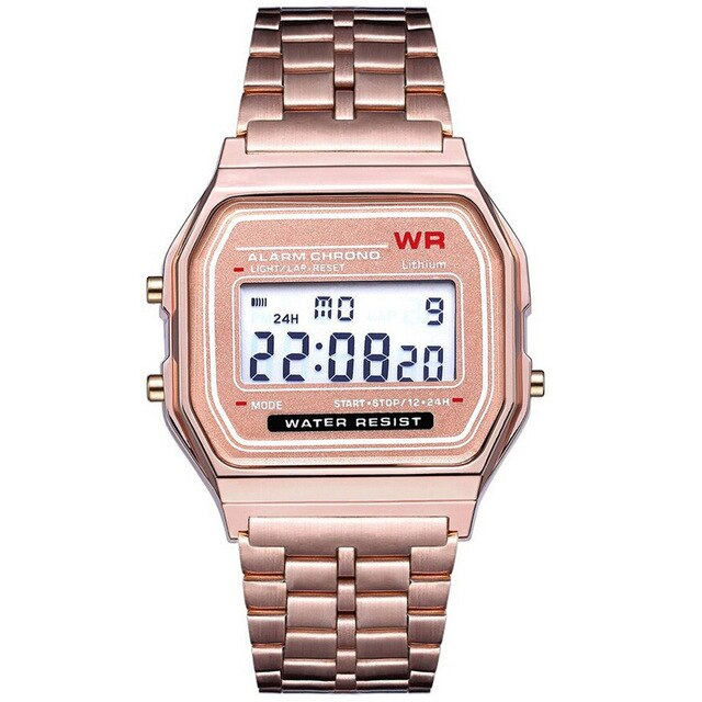 LED Digital Waterproof Quartz Wrist Watch Dress Golden Wrist Watch-Felligo
