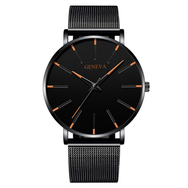 Luxury Fashion Mens Minimalist Watches Ultra Thin black Stainless Steel Mesh Band Watch.-Felligo