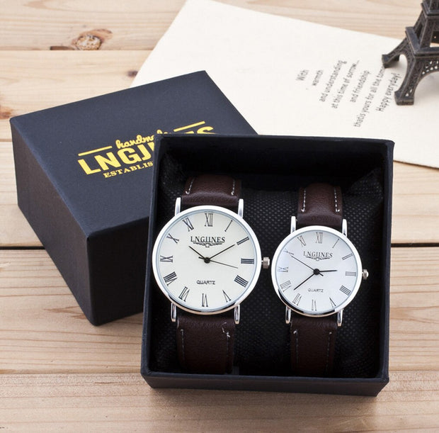 2pcs Fashion Couple High Gloss Glass Leather Belt Watch-Felligo