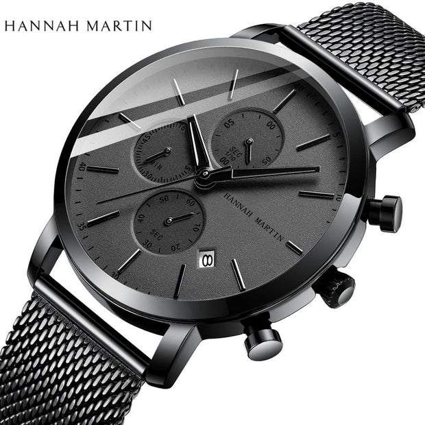 2020 New Black Stainless Steel High Quality Mesh Wristwatch-Felligo