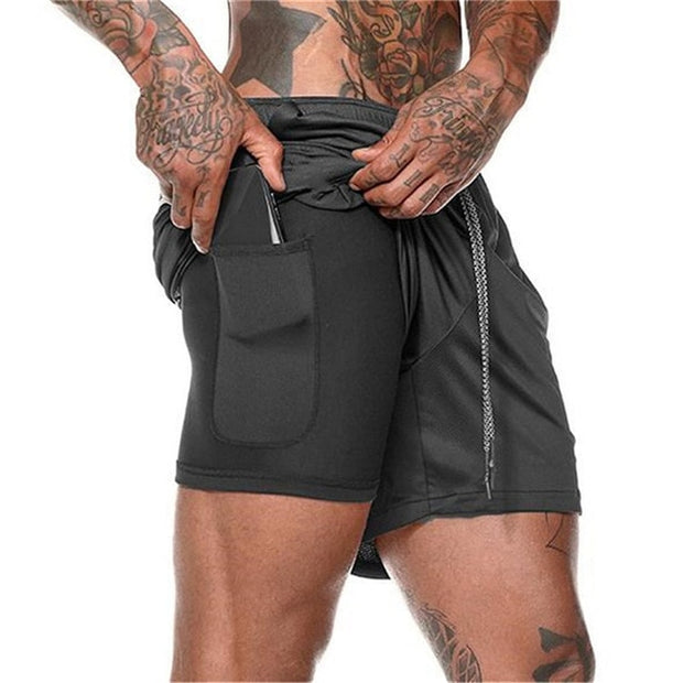 Men's Casual Shorts 2 in 1 Running Shorts Quick Drying Sport Shorts Gyms Fitness Bodybuilding Workout Built-in Pockets Short Men-Felligo