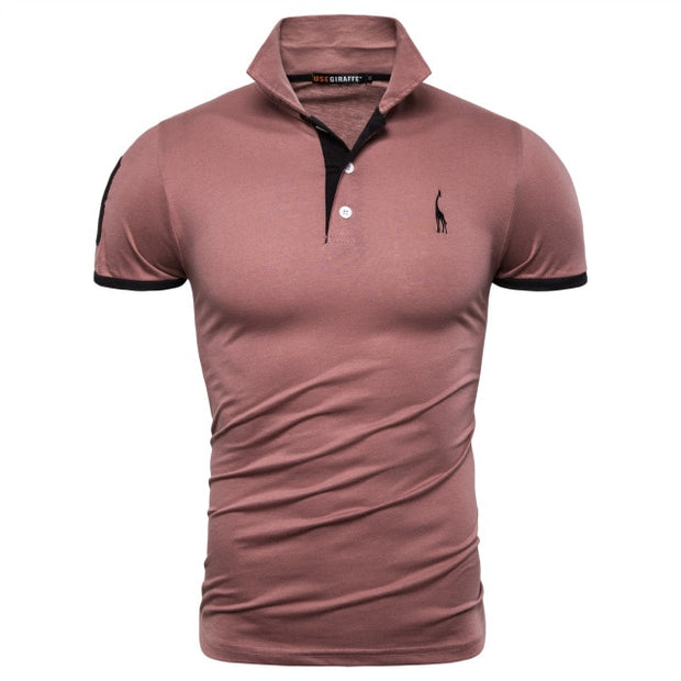 Dropshipping 16 Colors Cotton PoloGiraffe T Shirt Men Deer Embroidery Short Sleeve T-Shirts Casual Mens T-Shirt-Felligo