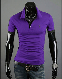 Men Short-Sleeved Casual Style Fashion Short-Sleeved Top Popular Fashion Polo-shirt Solid Color Shirt-Felligo