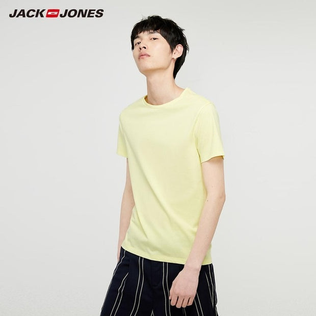 JackJones Men's Cotton T-shirt Solid Color Men's Top Fashion t shirt 2019 Brand New Menswear 219301502-Felligo