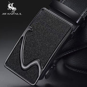 NO.ONEPAUL Brand Fashion Automatic Buckle Black Genuine Leather Belt Men's Belts Cow Leather Belts for Men 3.5cm Width WQE789-Felligo