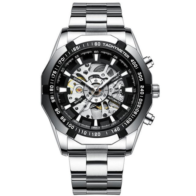 FNGEEN Automatic hollow mechanical Stainless Steel Waterproof Luxury Sports Watch-Felligo