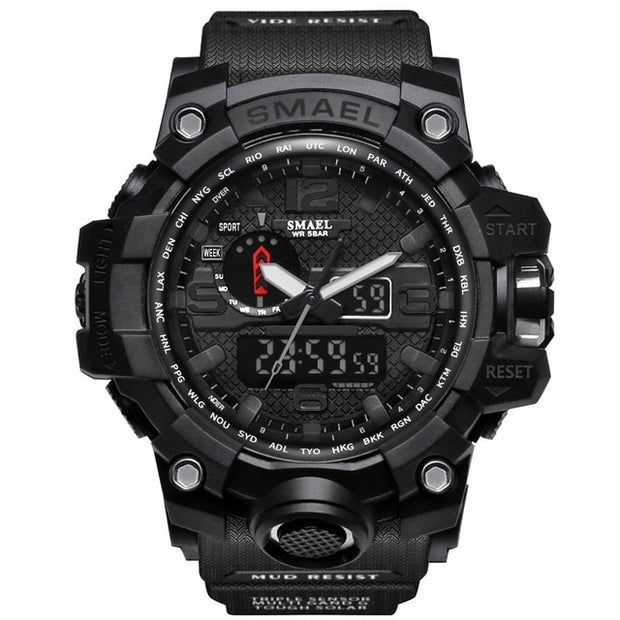 SMAEL Brand Men Sports Watches Dual Display Analog Digital LED Electronic Quartz Wristwatches Waterproof Swimming Military Watch-Felligo
