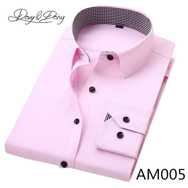 DAVYDAISY High Quality Men Shirt Long Sleeve Twill Solid Formal Business Shirt Brand Man Dress Shirts DS085-Felligo