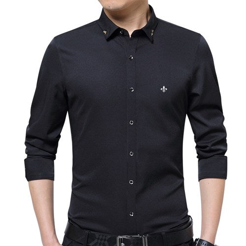 DUDALINA Embroidery Men Clothes Solid Slim Fit Men Long Sleeve Shirt Casual Men Social Shirt Plus Size Anti-wrinkle-free E51701-Felligo