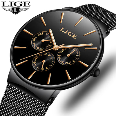 Mens Watches LIGE Top Brand Luxury Waterproof Ultra Thin Date Clock Male Steel Strap Casual Quartz Watch Men Sports Wrist Watch-Felligo
