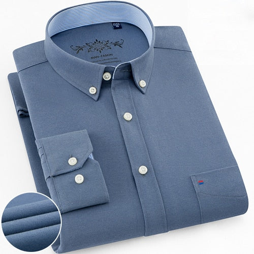 Mens Long Sleeve Solid Oxford Dress Shirt with Left Chest Pocket High-quality Male Casual Regular-fit Tops Button Down Shirts-Felligo