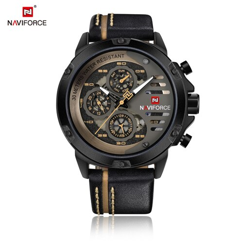 NAVIFORCE Watch Men Fashion Casual Quartz Watches 12/24H Day and Date Display Wristwatch Leather Waterproof Relogio Masculino-Felligo