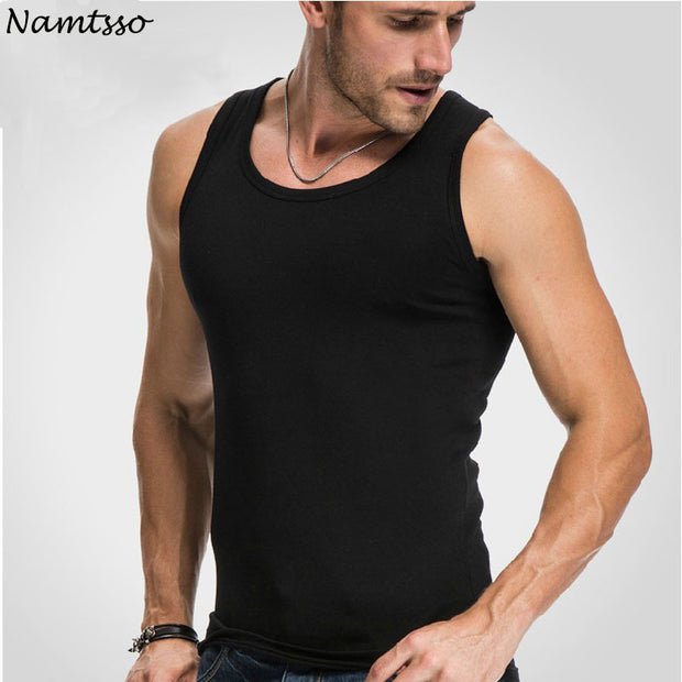 Men's Close-fitting Vest Fitness Elastic Casual O-neck Breathable H Type All Cotton Solid Undershirts Male Tanks-Felligo