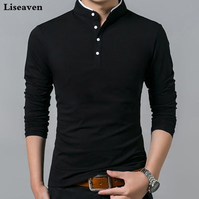 Liseaven T-Shirt Men Cotton T Shirt Full Sleeve tshirt Men Solid Color T-shirts tops&tees Mandarin Collar Long Shirt-Felligo