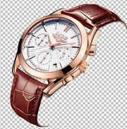 New Fashion Man Watches Top Luxury LIGE Brand Quartz-watch Leather Strap Waterproof-Felligo