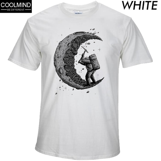 100% cotton digging the moon print casual mens o-neck t shirts fashion men's tops men T-shirt short sleeve men tshirt 2017-Felligo