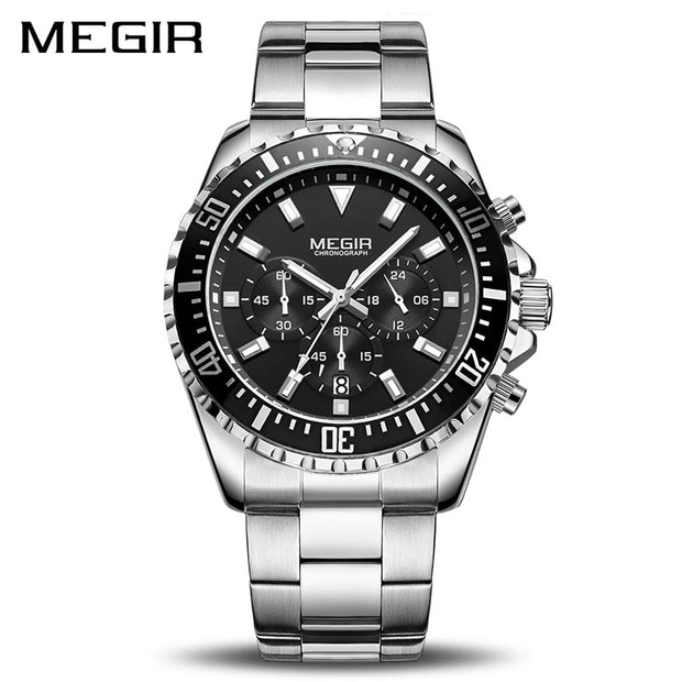 MEGIR Luxury Business Men Brand Stainless Steel Quartz Watch-Felligo