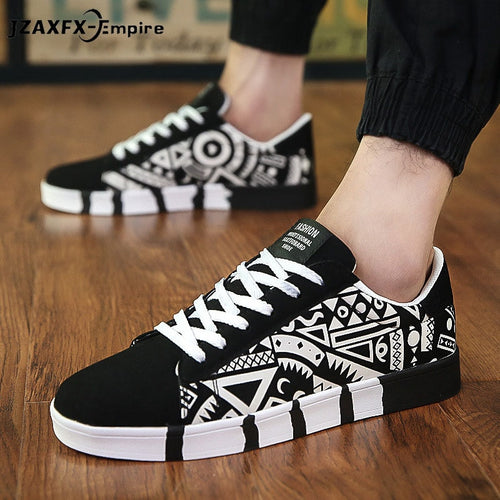Men Casual Canvas Shoes Fashion Print Sneakers Summer Trainers-Felligo