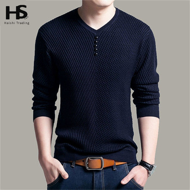 Sweater Men Casual V-Neck Pullover Men Autumn Slim Fit Long Sleeve Shirt Mens-Felligo
