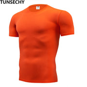 Fashion pure color T-shirt Men Short Sleeve compression tight Tshirts Shirt S- 4XL Summer Clothes Free transportation-Felligo