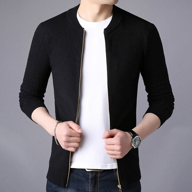 Male Jacket Solid Color Sweaters-Felligo