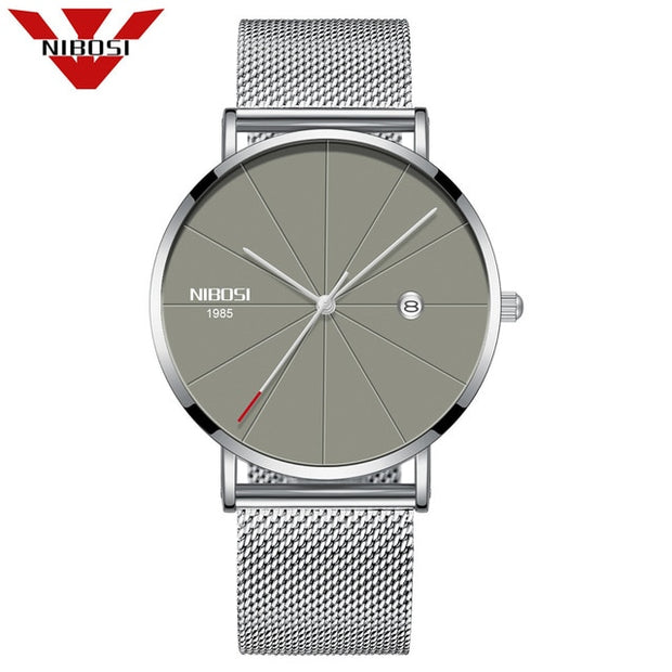 NIBOSI Men Blue Stainless Steel Ultra Thin Watches Men Classic Quartz Watches Luxury Date Men's Wrist Watch Relogio Masculino-Felligo