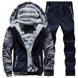 Winter Inner Fleece Hoodies Men 2018 Casual Hooded Warm Sweatshirts Male Thicken Tracksuit 2PC Jacket+Pant Men Moleton Masculino-Felligo