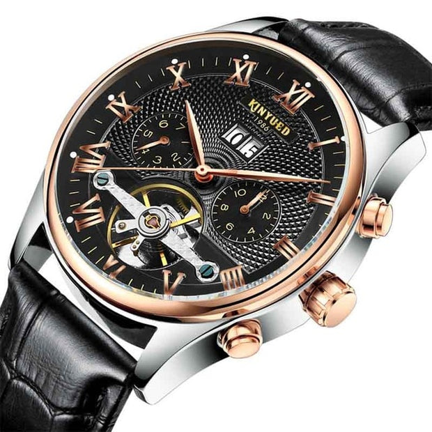 KINYUED 2019 Skeleton-Classic Rose Gold-Leather-Tourbillon Mechanical Watch for Men-Felligo