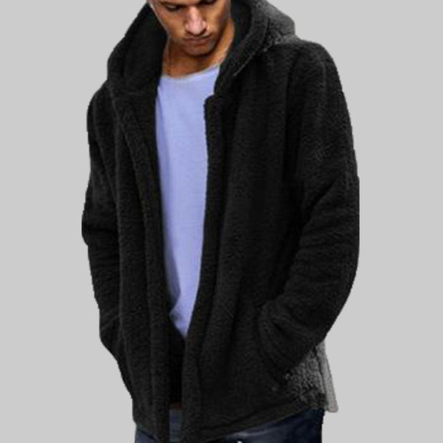 Winter Warm Men Winter Thick Hoodies Tops Fluffy Fleece Fur Jacket Hooded Coat Outerwear Long Sleeve Cardigans-Felligo