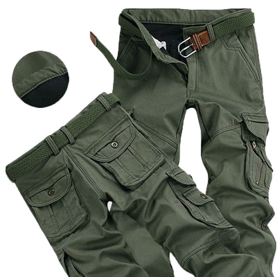 Mens Winter Pants Thick Warm Cargo Pants Casual Fleece Pockets Fur Trouser Plus Size 38 40 Fashion Loose Baggy Joger Worker Male-Felligo