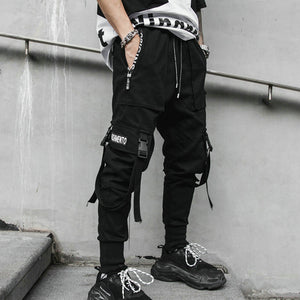 2019 Spring Hip Hop Joggers Men Black Harem Pants Multi-pocket Ribbons Man Sweatpants Streetwear Casual Mens Pants M-3XL-Felligo