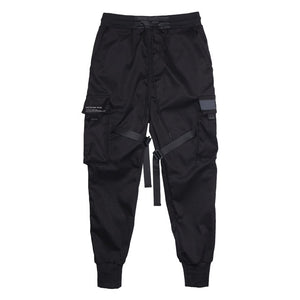 Men Ribbons Color Block Black Pocket Cargo Pants 2019-Felligo