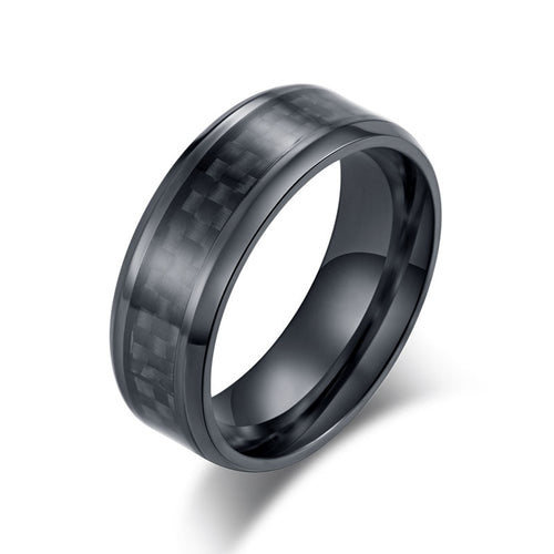 Stainless Steel Carbon Fiber Ring for Men