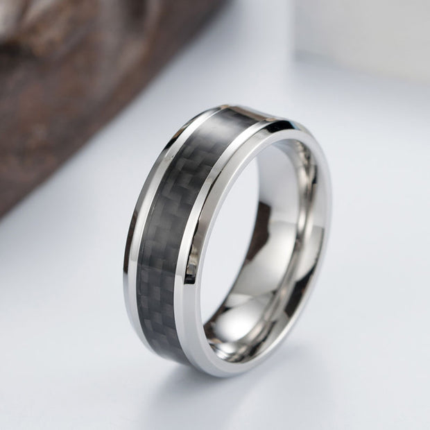 Stainless Steel Carbon Fiber Ring for Men-Felligo
