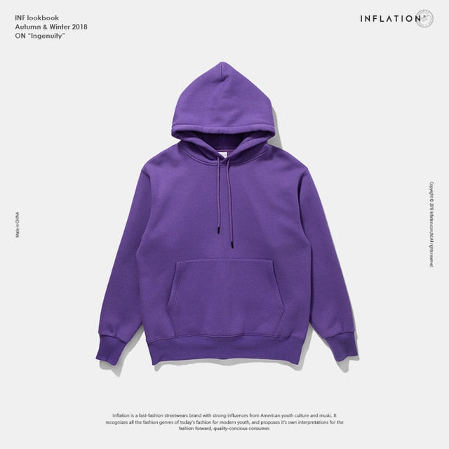 INFLATION 2019 Autumn Mens Thick Fleece Hoodies Hip Hop Pure Hoodies Thick Velvet Fabrics Winter Hoodies For Men Women 167W17-Felligo