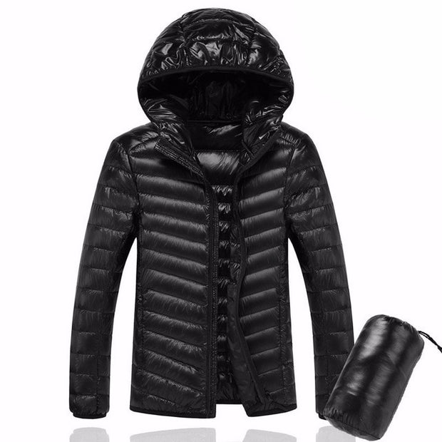 2019 Men Hooded ultraLight White Duck Down Jacket Warm Jacket Line Portable Package men pack jacket-Felligo