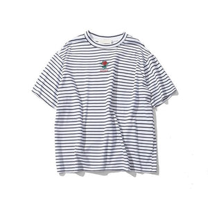 Dark Icon Rose Embroidery Striped Mens T-shirt Short Sleeve 2019 Summer Hi-street Oversized Hip Hop Tshirt Cotton Tee Shirts-Felligo