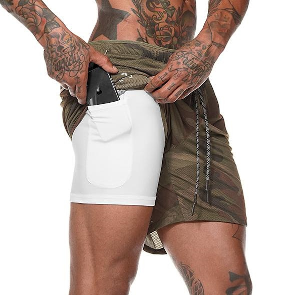 Men's 2 in 1 Running Shorts Security Pockets Leisure Shorts Quick Drying Sport Shorts Built-in Pockets Hips Hiden Zipper Pockets-Felligo