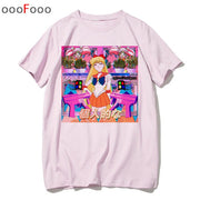 vaporwave T Shirt Harajuk Tops t-shirt Sad Girl Retro Anime Men aesthetic Fashion Japanese male/women Tee Shirt sexy tshirt-Felligo