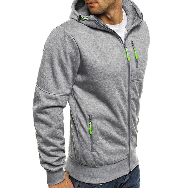 2019 New Men's Hoodies Casual Sports Design Spring and Autumn Winter Long-sleeved Cardigan Hooded Men's Hoodie-Felligo