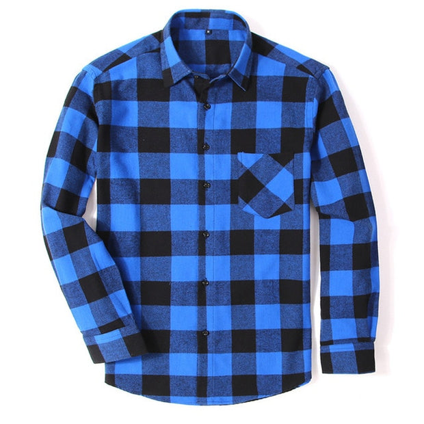 100% Cotton Flannel Men's Plaid Shirt Slim Fit Spring Autumn Male Brand Casual Long Sleeved Shirts Soft Comfortable 4XL-Felligo