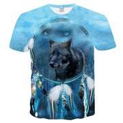 2019 Men's New Summer Personalized T-Shirt Wolf Print T-Shirt 3D Men's T-Shirt Novelty Animal Tops T-Shirt Men's Short Sleeve-Felligo