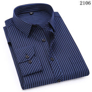 Plus Large Size 8XL 7XL 6XL 5XL 4XL Mens Business Casual Long Sleeved Shirt Classic Striped Male Social Dress Shirts Purple Blue-Felligo